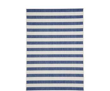 Tappeto blu/bianco da interno-esterno a righe Axa, 120x170 cm