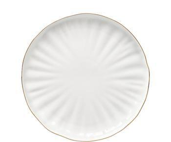 Piattino da dessert in porcellana con bordo dorato Sali 2 pz