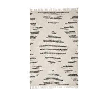 Alfombra artesanal de algodón con flecos Lines, 120 x 180 cm