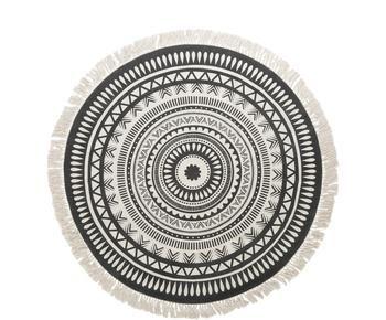 Runder Teppich Benji mit Fransen, flachgewebt