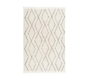 Tapis pur coton beige tufté main Bina, 200 x 300 cm